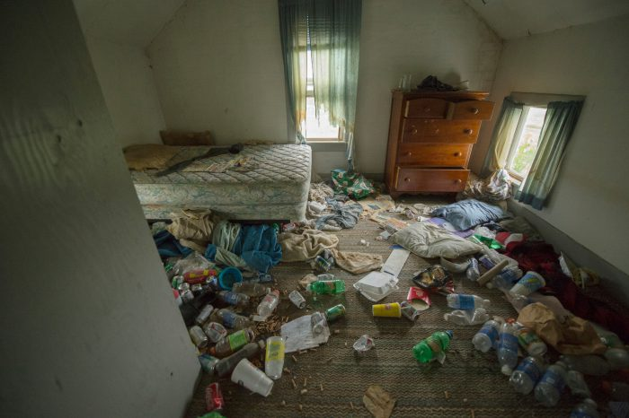 Photo: An abandoned farm house filled with trash left from the last tenants, Bennet.