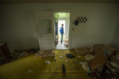 Photo: The view to outside from inside and an abandoned farm house, Bennet, Nebraska.