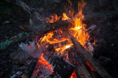 Photo: A close up of a camp fire near Cross Lake, Minnesota.
