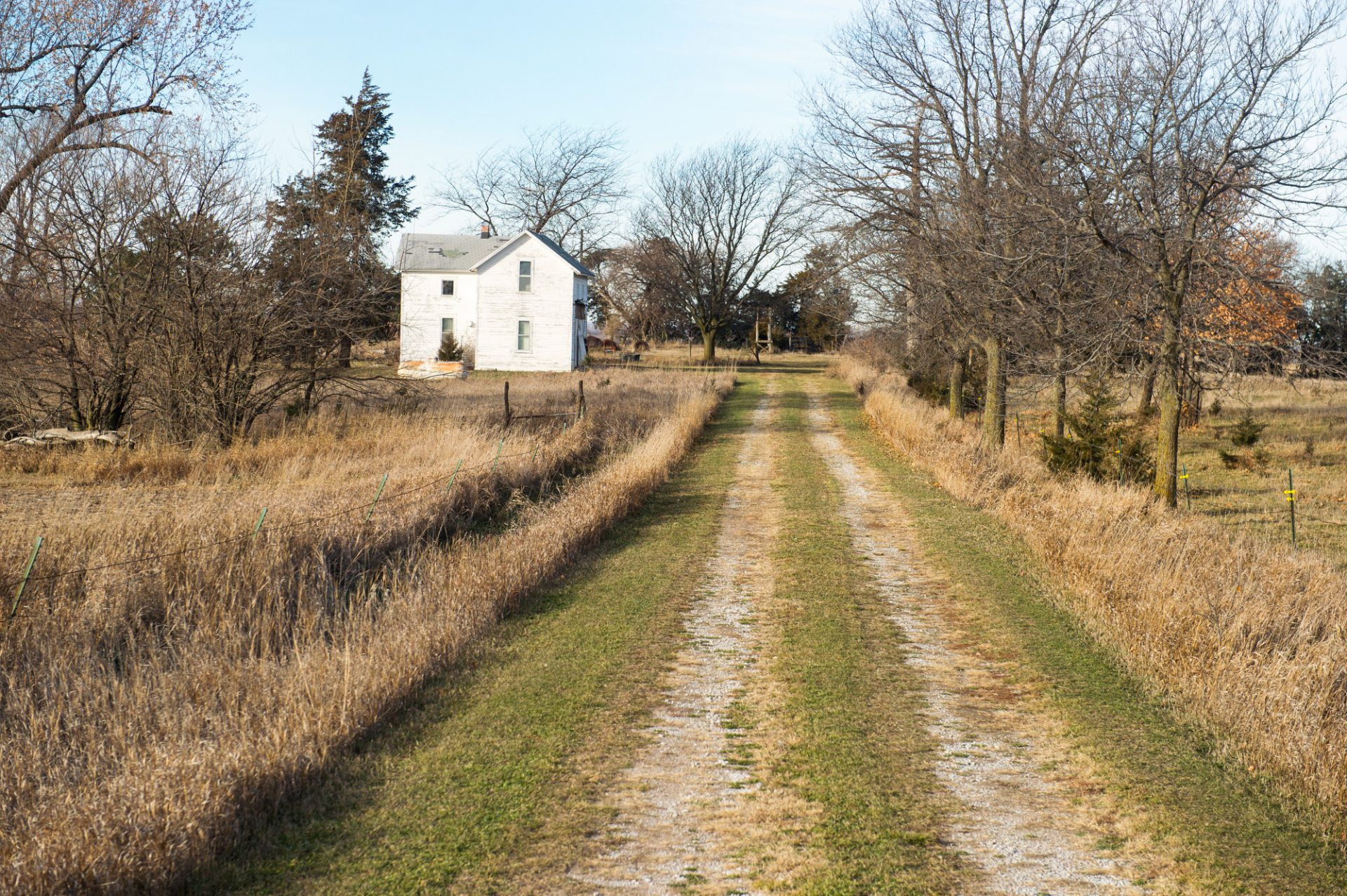 Photo: A country road leads to an old farm house in Bennet, Nebraska.