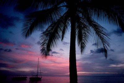 Photo: The sun sets over the ocean in St. Lucia, Caribbean.