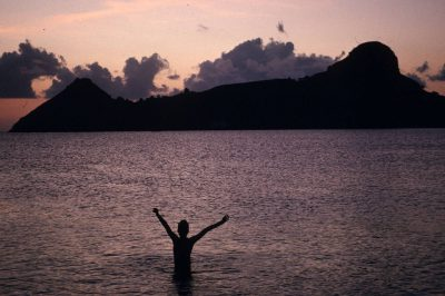 Photo: A swimmer in St. Lucia, the Caribbean.
