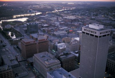 Photo: Aerial fo downtown Omaha, Nebraska showing the Missouri River.