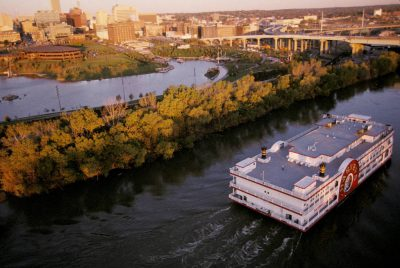 Photo: A casino riverboat on the Missouri River near downtown Omaha, Nebraska.