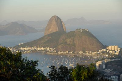 Photo: Looking east over the water and Sugar Loaf Mountain in Rio de Janeiro, Brazil.