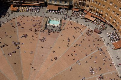 Photo: The Piazza del Camp in the center of Sienna, as seen from the Torre del Mangia bell tower.