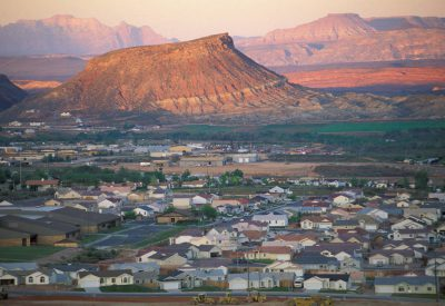 Photo: Houses fill the desert canyon in the St. George/Washington Utah area.