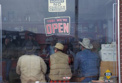 Photo: Cowboys at a store near Laketown, Utah