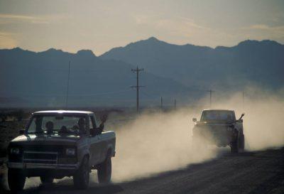 Photo: A truck leaves Ash Meadows NWR, Nevada.