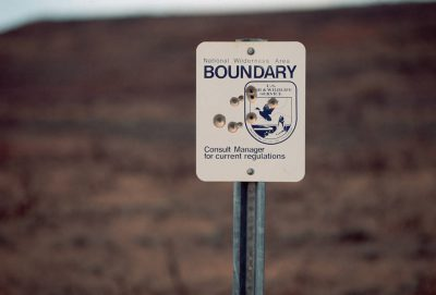 Photo: A sign markes the beginning of space set aside for nature at UL Bend NWR in Montana.