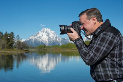 Photo: A photographer at Yellowstone National Park, Wyoming.