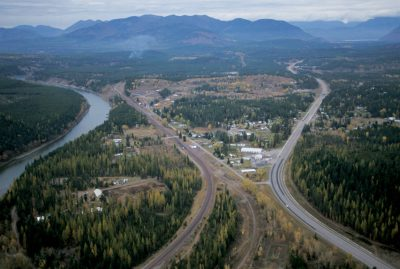 Photo: Aerial of the Flathead River near Whitefish, Montana.