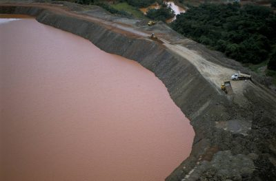 Photo: Aerial of a big gold mine in Brazil's Pantanal.