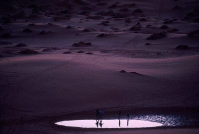Photo: Family at a pond amid coral pink sand dunes in a Utah state park.