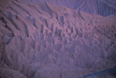 "Photo: Distinctive rock formation in the ""Valley of the Moon"" in Chile's Atacama Desert, the driest place on earth."