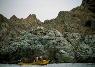 Photo: Fishermen off the coast of Chile near Antofagasta.