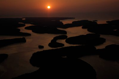 Photo: Aerials of Everglades National Park in the 10,000 Islands area on the park's west side near Naples at sunset.