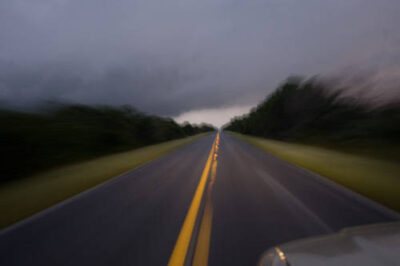 Photo: A view of the road to Flamingo, Florida from a car window during a thunderstorm.
