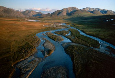 Photo: A braided stream crosses the tundra on the North Slope of Alaska near Prudhoe Bay.