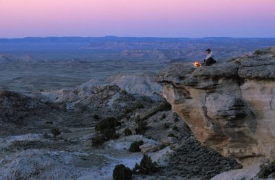 Photo: A camper in Adobe Town, part of the Red Desert in south central Wyoming.