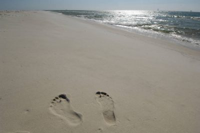 Photo: Footprints in the sand on a beach in Gulf Shores, Alabama.