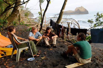 Photo: A crew of researchers meets at turtle camp on Bioko Island, Equatorial Guinea, Africa.