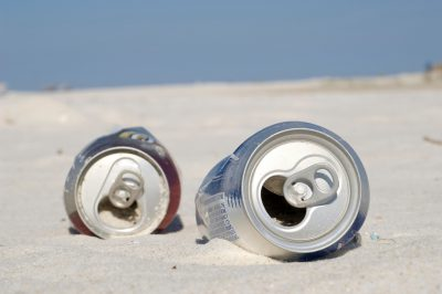 Photo: Litter on a beach in Gulf Shores, Alabama.