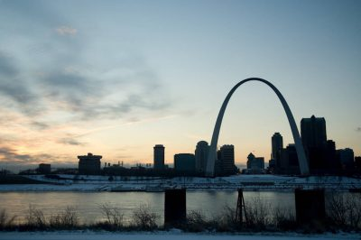 Photo: The St. Louis Arch with the riverfront visible in the background.