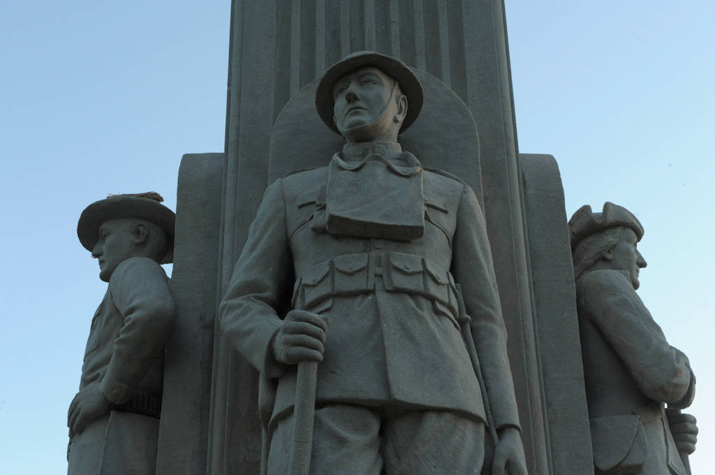 Photo: A statue stands tall in Antelope Park at a war veterans memorial in Lincoln Nebraska.