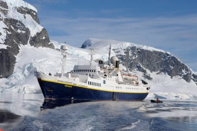 Photo: The National Geographic Endeavor near Danco Island, Antarctica.