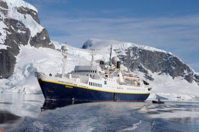 Photo: The National Geographic Endeavor near Danco Island, Antarctica.