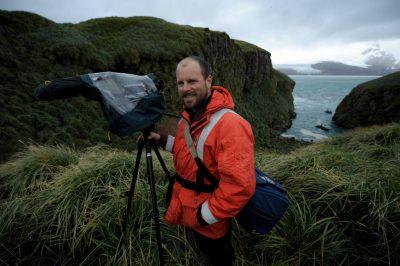 Photo: Videographyer Kevin Freeny on South Georgia Island.