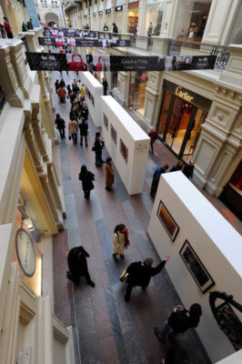Photo: Nikon-sponsored photo show of Joel Sartore's work inside the GUM, an historic shopping center on Red Square in Moscow, Russia.