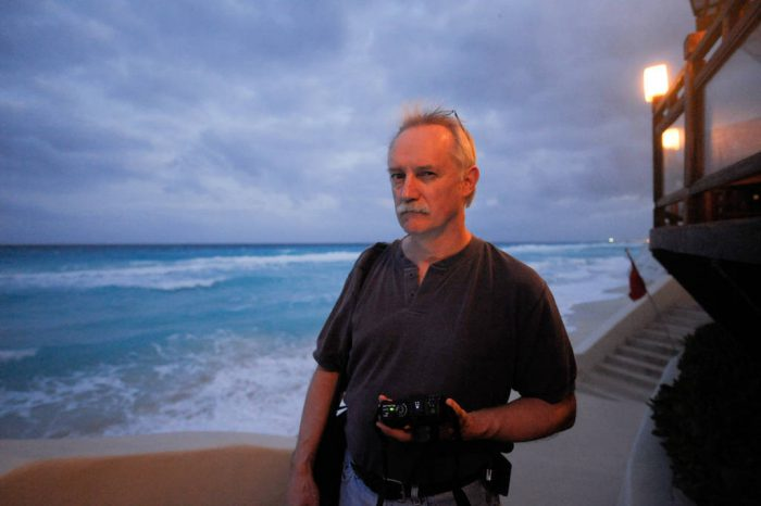 Photo: Dennis Dimick along the base of the Me by Melia Hotel in Cancun, Mexico.
