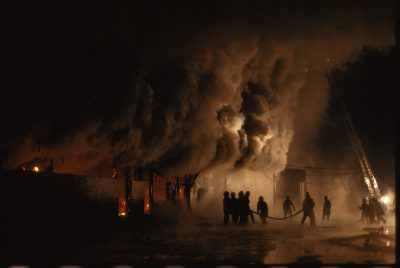 Photo: Firefighters battle a warehouse fire in Omaha, Nebraska.