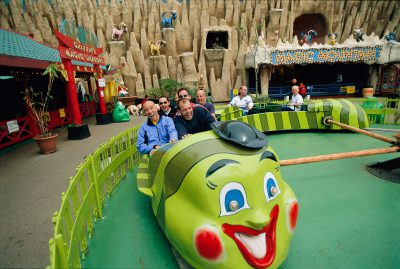 Photo: A hiking team have fun at Blackpool's Pleasure Beach in the United Kingdom.