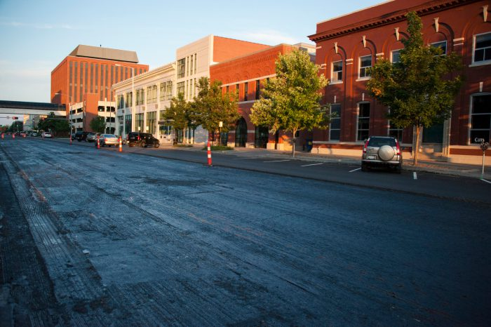 Photo: A street gets resurfaced in Lincoln, Nebraska.
