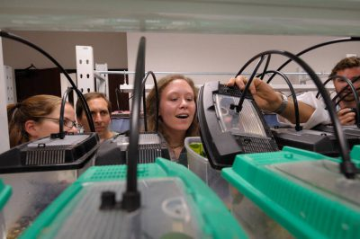 Photo: A team inside the amphibian lab of Pontificia Universidad Catolica del Ecuador in Quito.