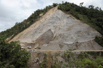 Photo: A ravine is demolished by a road-widening/gravel mining project in Ecuador.