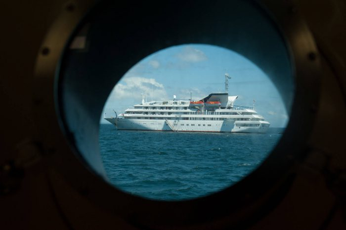Photo: A cruise ship in the Galapagos Islands.