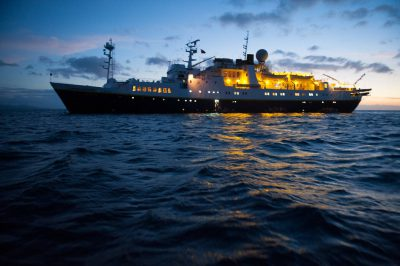 Photo: The National Geographic Endeavor, a Lindblad ship, whose zodiaks ferry guests to and from shore.