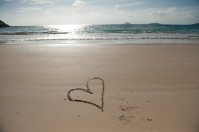 Photo: A heart design in the beach on Floreana Island in Galapagos National Park.