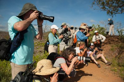 Photo: Tourists take advantage of the many photo opportunities on Santa Cruz Island,Galapagos National Park.