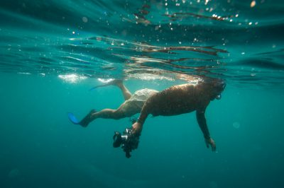 Photo: A tourist snorkels near Kicker Rock, near San Cristobal Island in Galapagos National Park.