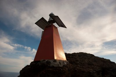 Photo: A lighthouse on Bartholomew Island, part of Galapagos National Park.