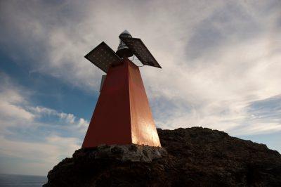 Photo: A lighthouse on Bartholomew Island, part of Galapagos National Park.