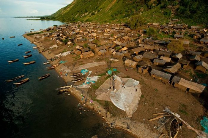 Photo: The fishing village of Kiryamboga, against the base of the east wall of the Albertine Rift.