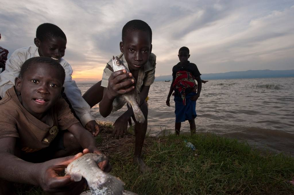 Photo: At the fishing village of Kyehoro, local boys now catch what few fish remain.