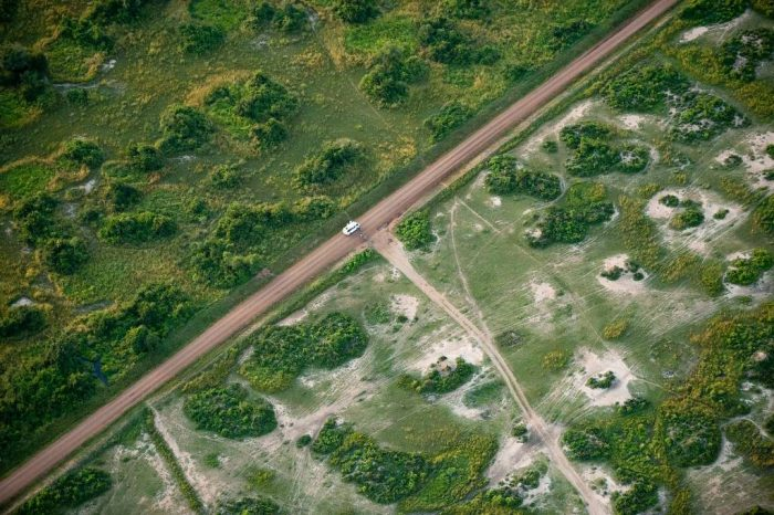 Photo: Along the eastern side of Lake Albert, the difference in vegetation is striking.