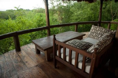Photo: Outdoor living quarters of a safari lodge in Uganda, Africa.